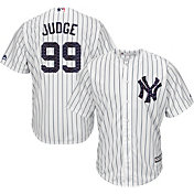 Majestic Men's Replica New York Yankees Aaron Judge #99 Cool Base Home White 2018 4th of July Jersey