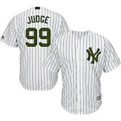 Majestic Men's Replica New York Yankees Aaron Judge #99 Cool Base Home White 2018 Memorial Day Jersey