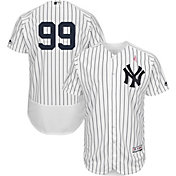 Majestic Men's Authentic New York Yankees Aaron Judge #99 Flex Base Home White On-Field Jersey w/ 2018 Mother's Day Ribbon