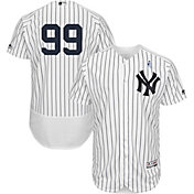 Majestic Men's Authentic New York Yankees Aaron Judge #99 Flex Base Home White On-Field Jersey w/ 2018 Father's Day Ribbon