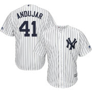 Majestic Men s Replica New York Yankees Miguel Andujar  41 Cool Base Home  White Jersey 2b540f5f255