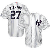 Majestic Men's Replica New York Yankees Giancarlo Stanton #27 Cool Base Home White 2018 4th of July Jersey