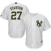 Majestic Men's Replica New York Yankees Giancarlo Stanton #27 Cool Base Home White 2018 Memorial Day Jersey