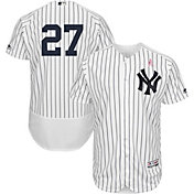 Majestic Men's Authentic New York Yankees Giancarlo Stanton #27 Flex Base Home White On-Field Jersey w/ 2018 Mother's Day Ribbon