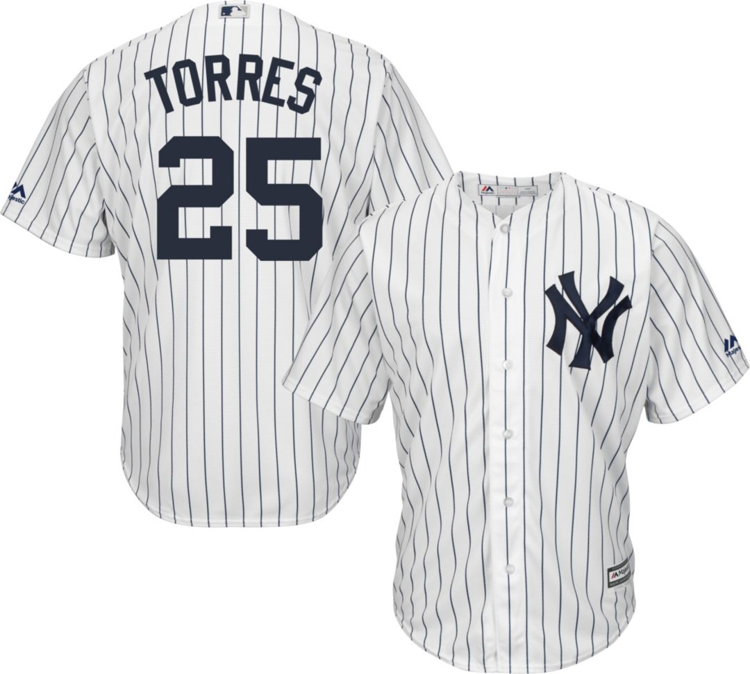 on sale 9bd86 5a2b2 Majestic Men's Replica New York Yankees Gleyber Torres #25 Cool Base Home  White Jersey