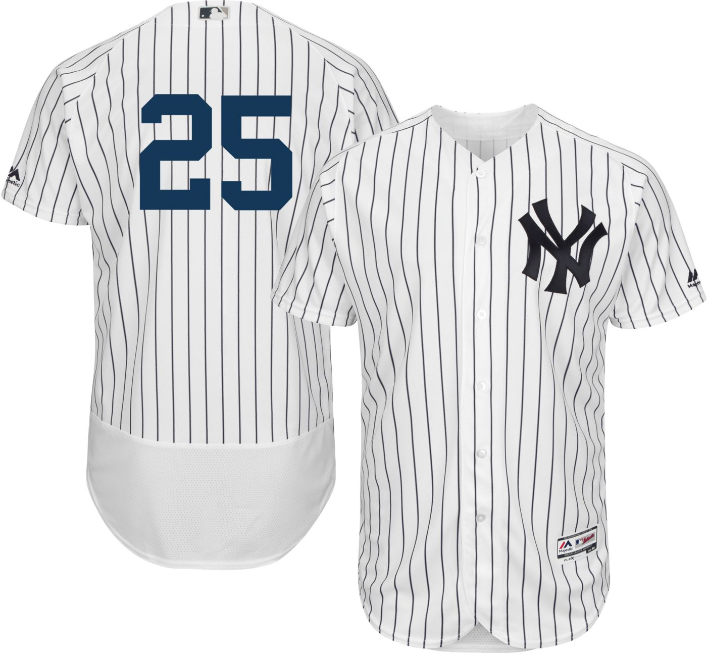 Majestic Men's Authentic New York Yankees Gleyber Torres #25 Flex Base Home White On-Field Jersey