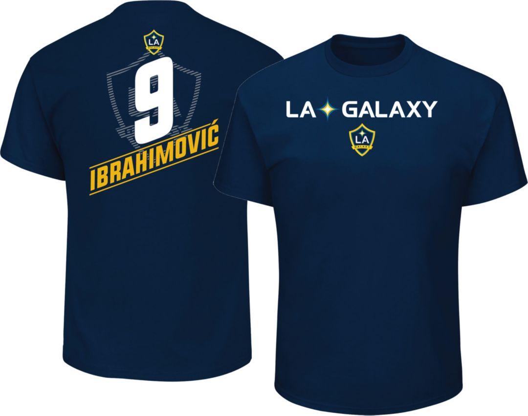 purchase cheap b442b f18ed Majestic Men's Los Angeles Galaxy Zlatan Ibrahimovic #9 Navy T-Shirt