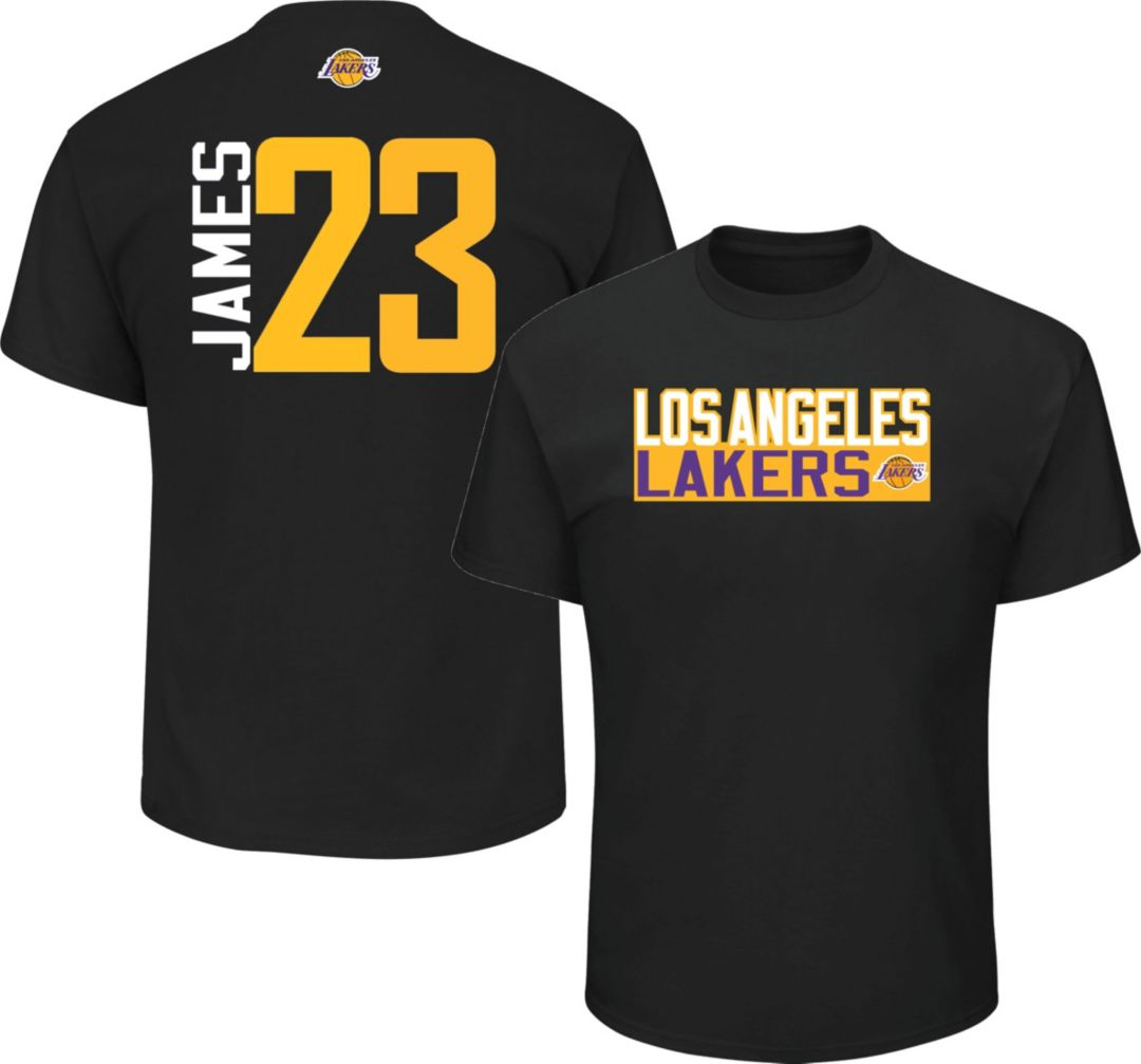 official photos fd5d9 f7546 Majestic Men's Los Angeles Lakers LeBron James #23 Black T-Shirt