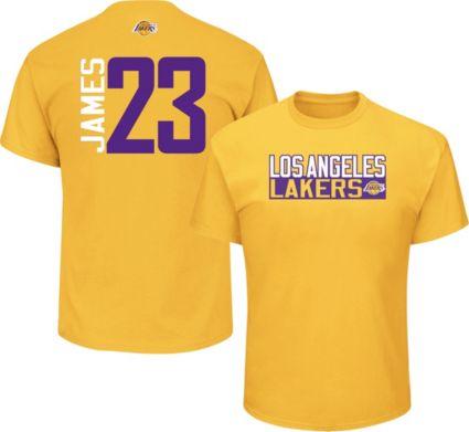 3047d4a4069 Majestic Men s Los Angeles Lakers LeBron James  23 Gold T-Shirt.  noImageFound