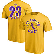 Majestic Men's Los Angeles Lakers LeBron James #23 Gold T-Shirt