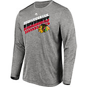 Majestic Men's Chicago Blackhawks Centre Performance Heather Grey Long Sleeve Shirt