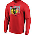 Majestic Men's Chicago Blackhawks Penalty Shot Red Long Sleeve Shirt