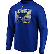 Majestic Men's St. Louis Blues Penalty Shot Blue Long Sleeve Shirt