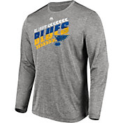 Majestic Men's St. Louis Blues Centre Performance Heather Grey Long Sleeve Shirt
