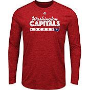 Majestic Men's Washington Capitals Crash The Net Red Heathered Long Sleeve Shirt