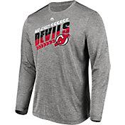 Majestic Men's New Jersey Devils Centre Performance Heather Grey Long Sleeve Shirt