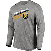 Majestic Men's Vegas Golden Knights Centre Performance Heather Grey Long Sleeve Shirt
