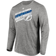 Majestic Men's Tampa Bay Lightning Centre Performance Heather Grey Long Sleeve Shirt