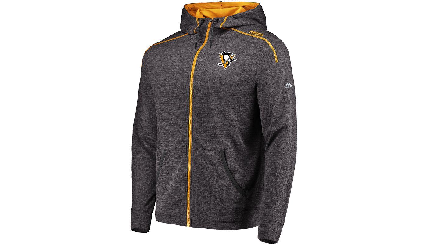 Majestic Men's Pittsburgh Penguins Elite Grey Full-Zip Hoodie