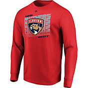 Majestic Men's Florida Panthers Penalty Shot REd Long Sleeve Shirt