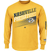 Majestic Men's Nashville Predators Rising Logo Gold Long Sleeve Shirt