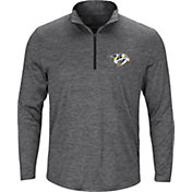 Majestic Men's Nashville Predators Logo Heather Grey Quarter-Zip Pullover