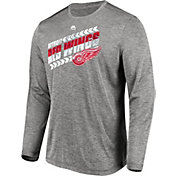 Majestic Men's Detroit Red Wings Centre Performance Heather Grey Long Sleeve Shirt