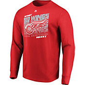Majestic Men's Detroit Red Wings Penalty Shot Red Long Sleeve Shirt