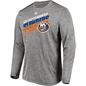 Majestic Men's New York Islanders Centre Performance Heather Grey Long Sleeve Shirt