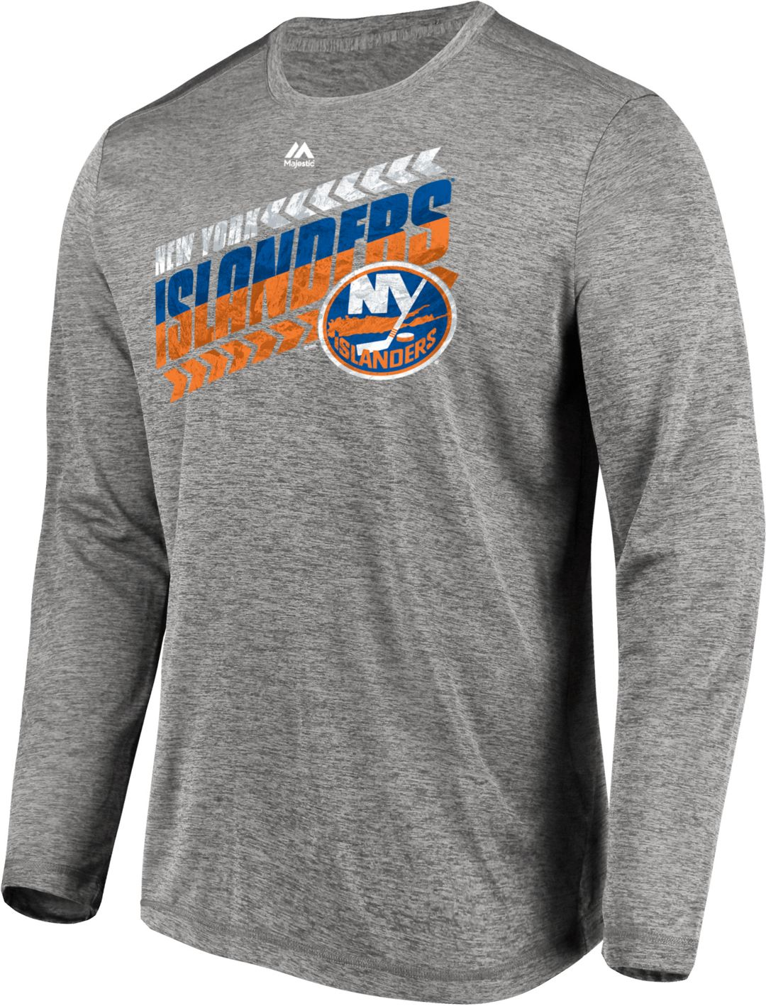 promo code 538d2 59b60 Majestic Men's New York Islanders Centre Performance Heather Grey Long  Sleeve Shirt