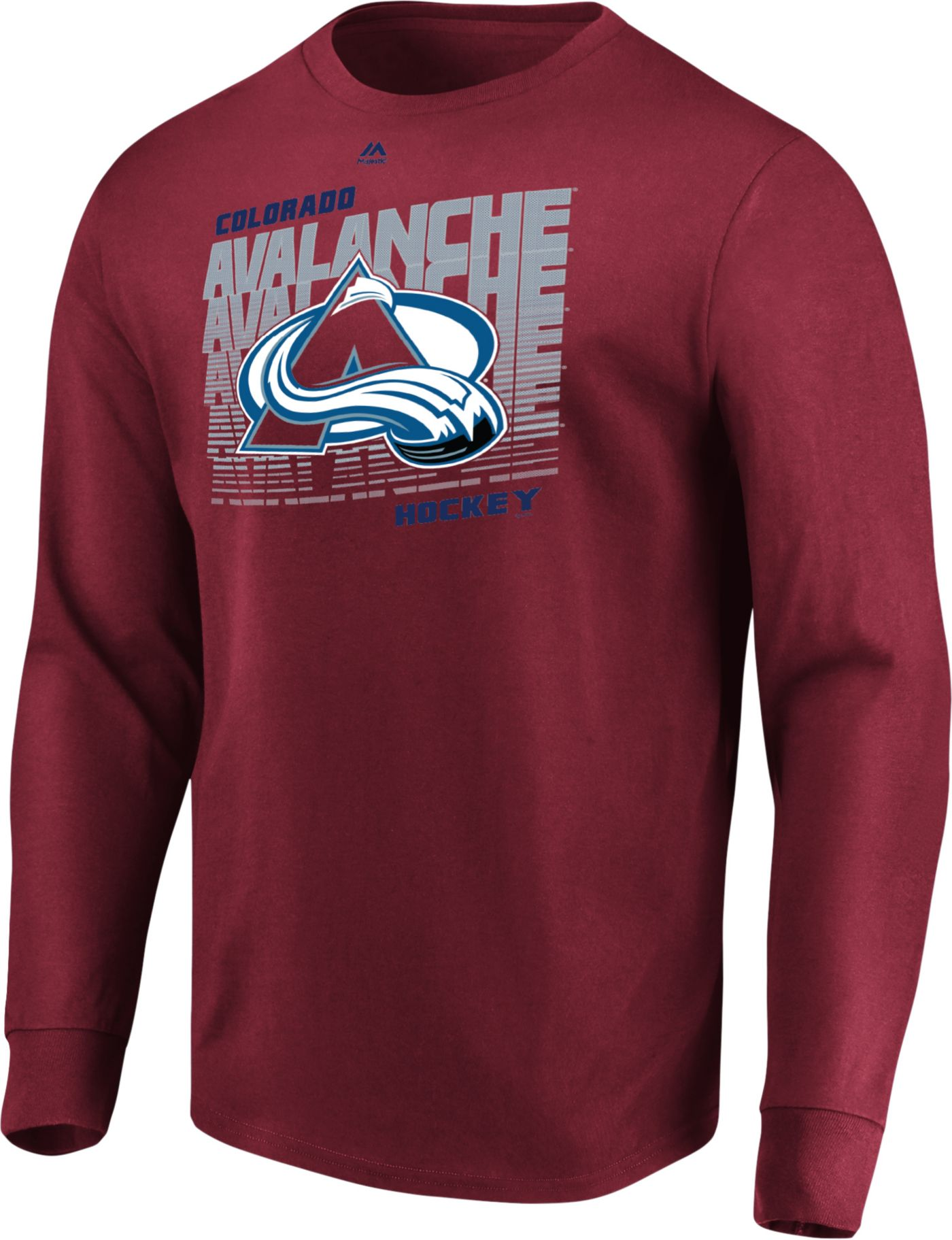 Majestic Men's Colorado Avalanche Penalty Shot Red Long Sleeve Shirt