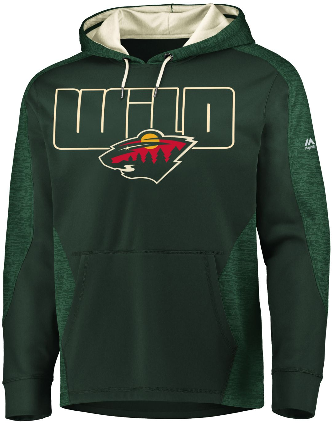 brand new 881a5 f661b Majestic Men's Minnesota Wild Armor Green Hoodie