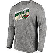 Majestic Men's Minnesota Wild Centre Performance Heather Grey Long Sleeve Shirt