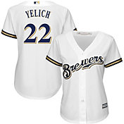 Majestic Women's Replica Milwaukee Brewers Christian Yelich #22 Cool Base Home White Jersey