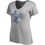 Majestic Women's 2018 NL Champions Locker Room Los Angeles Dodgers Grey V-Neck T-Shirt