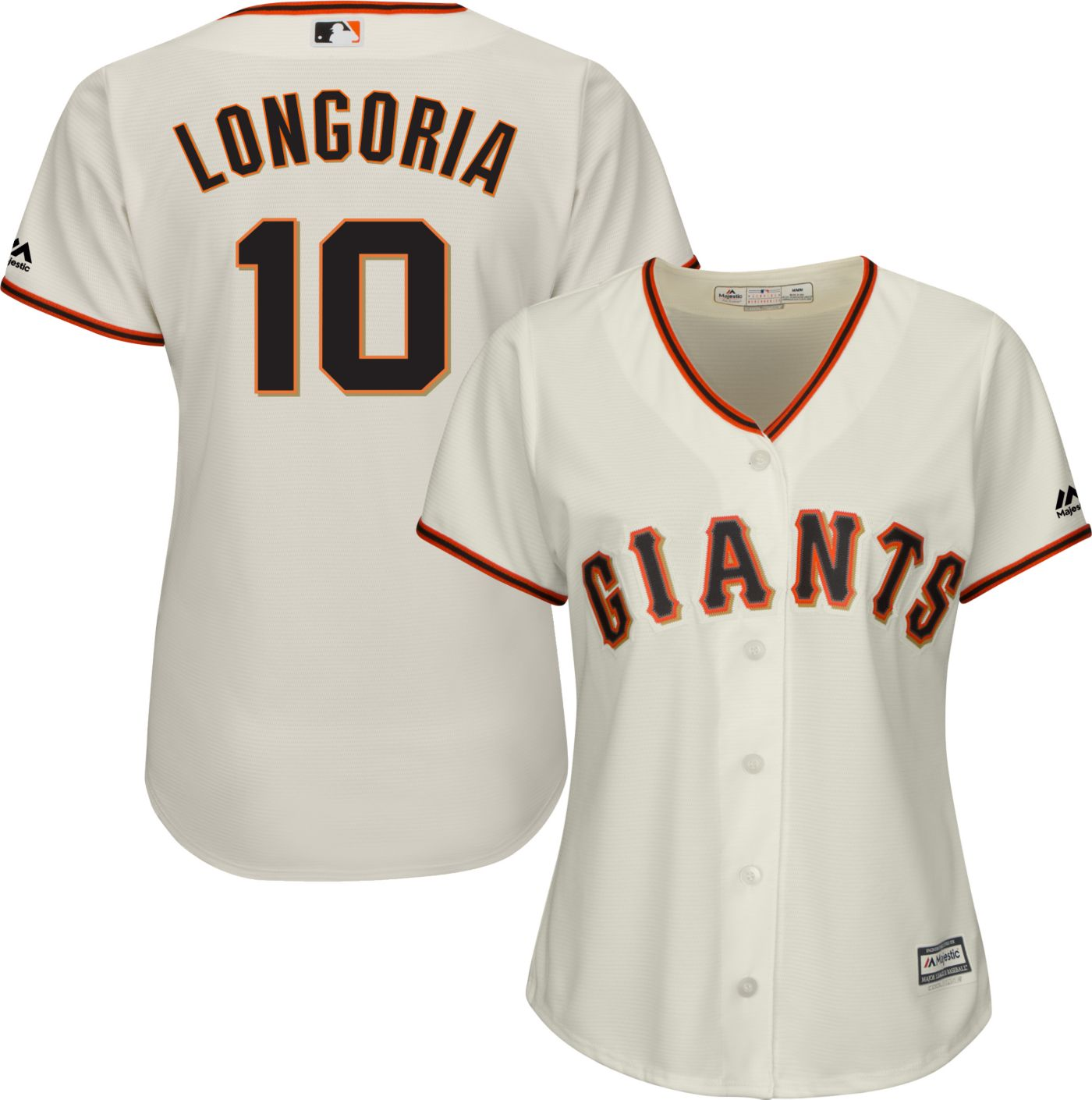 Majestic Women's Replica San Francisco Giants Evan Longoria #10 Cool Base Home Ivory Jersey