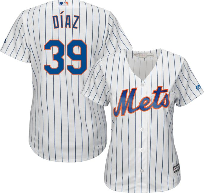 buy online 994c8 97f48 Majestic Women's Replica New York Mets Edwin Diaz #39 Cool Base Home White  Jersey
