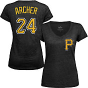 Majestic Threads Women's Pittsburgh Pirates Chris Archer Black V-Neck T-Shirt