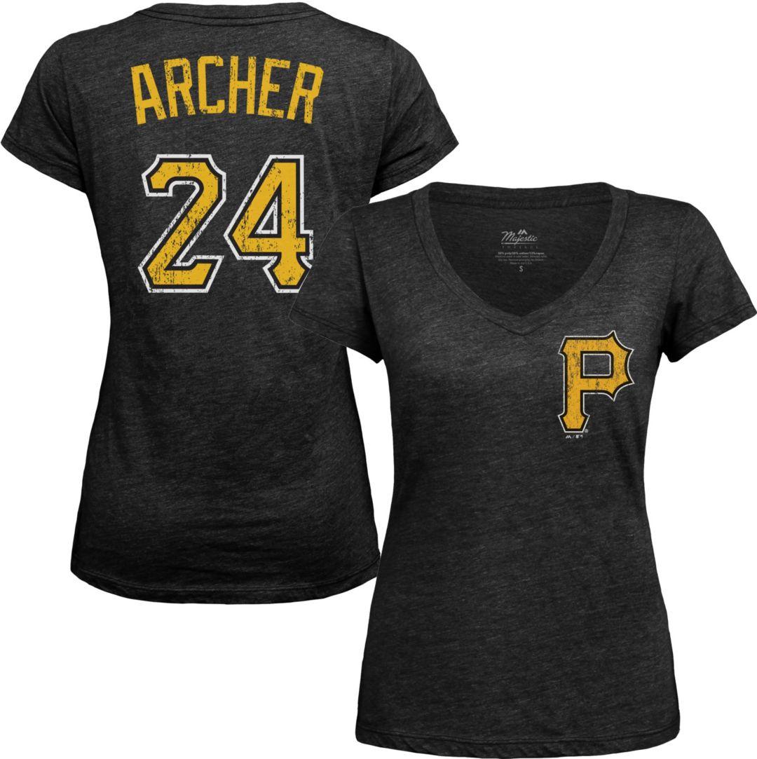 brand new db3d4 0811e Majestic Threads Women's Pittsburgh Pirates Chris Archer Black V-Neck  T-Shirt