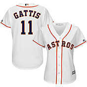 Majestic Women's Replica Houston Astros Evan Gattis #11 Cool Base Home White Jersey