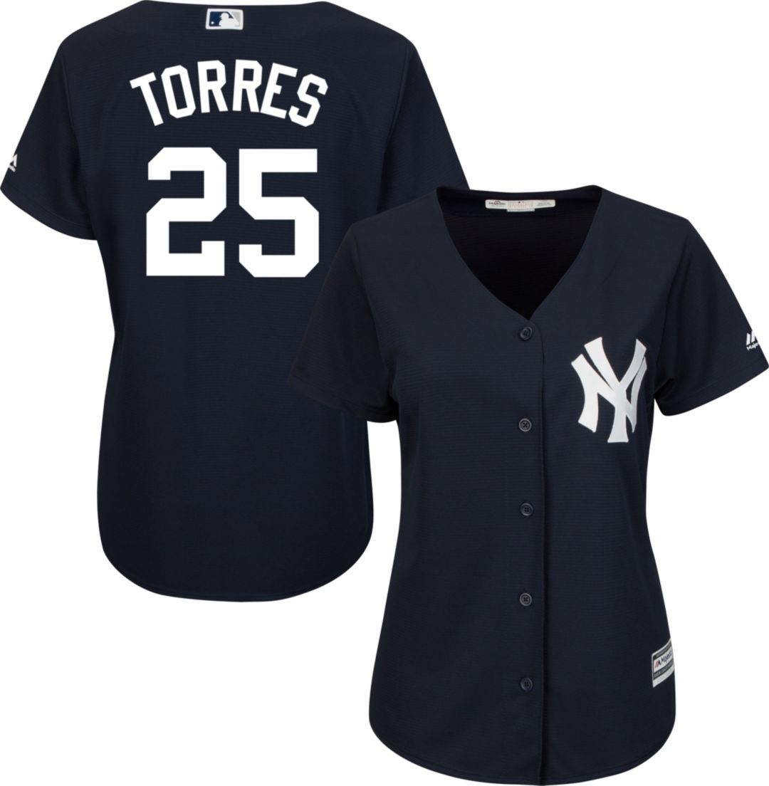 new style 38c61 f944f Majestic Women's Replica New York Yankees Gleyber Torres #25 Cool Base  Alternate Navy Jersey