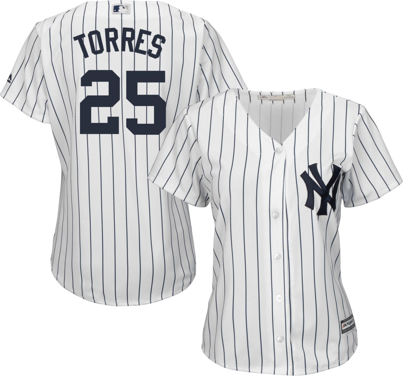 Majestic Women's Replica New York Yankees Gleyber Torres #25 Cool Base Home White Jersey