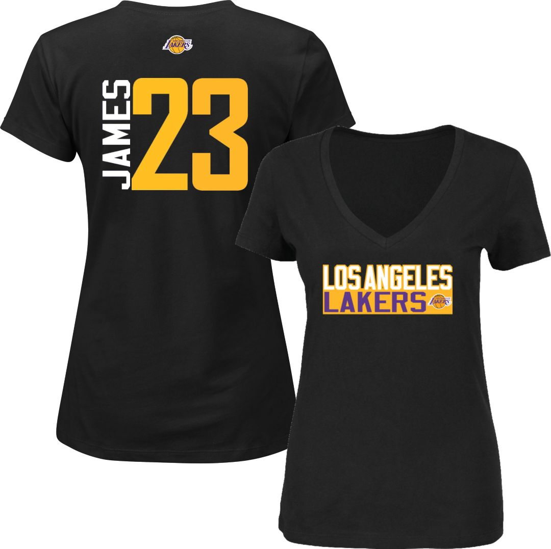 watch e5c46 2d312 Majestic Women's Los Angeles Lakers LeBron James #23 Black V-Neck T-Shirt