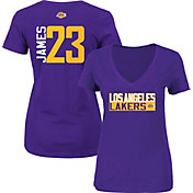 Majestic Women's Los Angeles Lakers LeBron James #23 Purple V-Neck T-Shirt