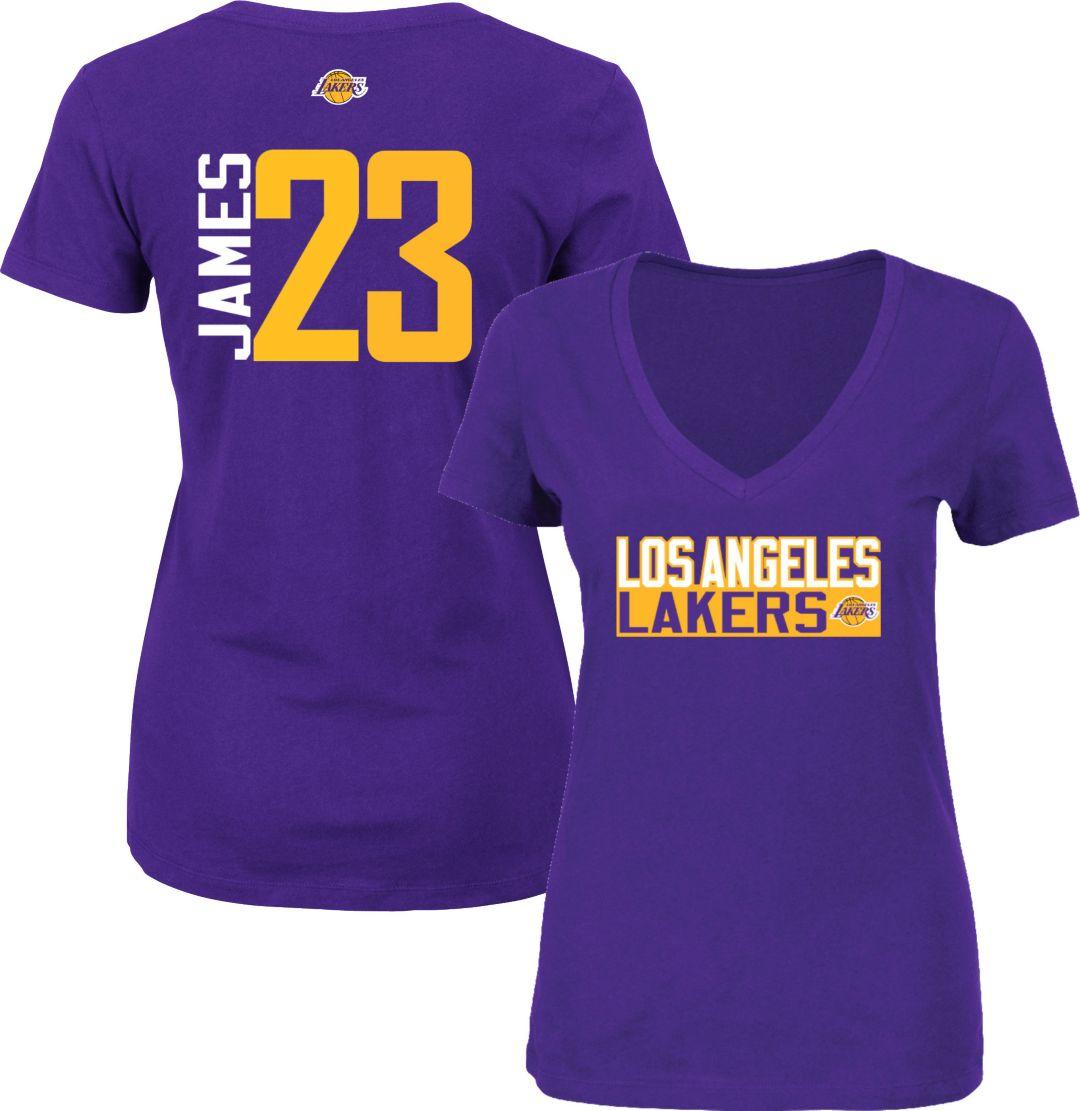 half off 71196 59570 Majestic Women's Los Angeles Lakers LeBron James #23 Purple V-Neck T-Shirt