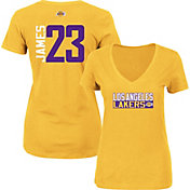 Majestic Women's Los Angeles Lakers LeBron James #23 Gold V-Neck T-Shirt