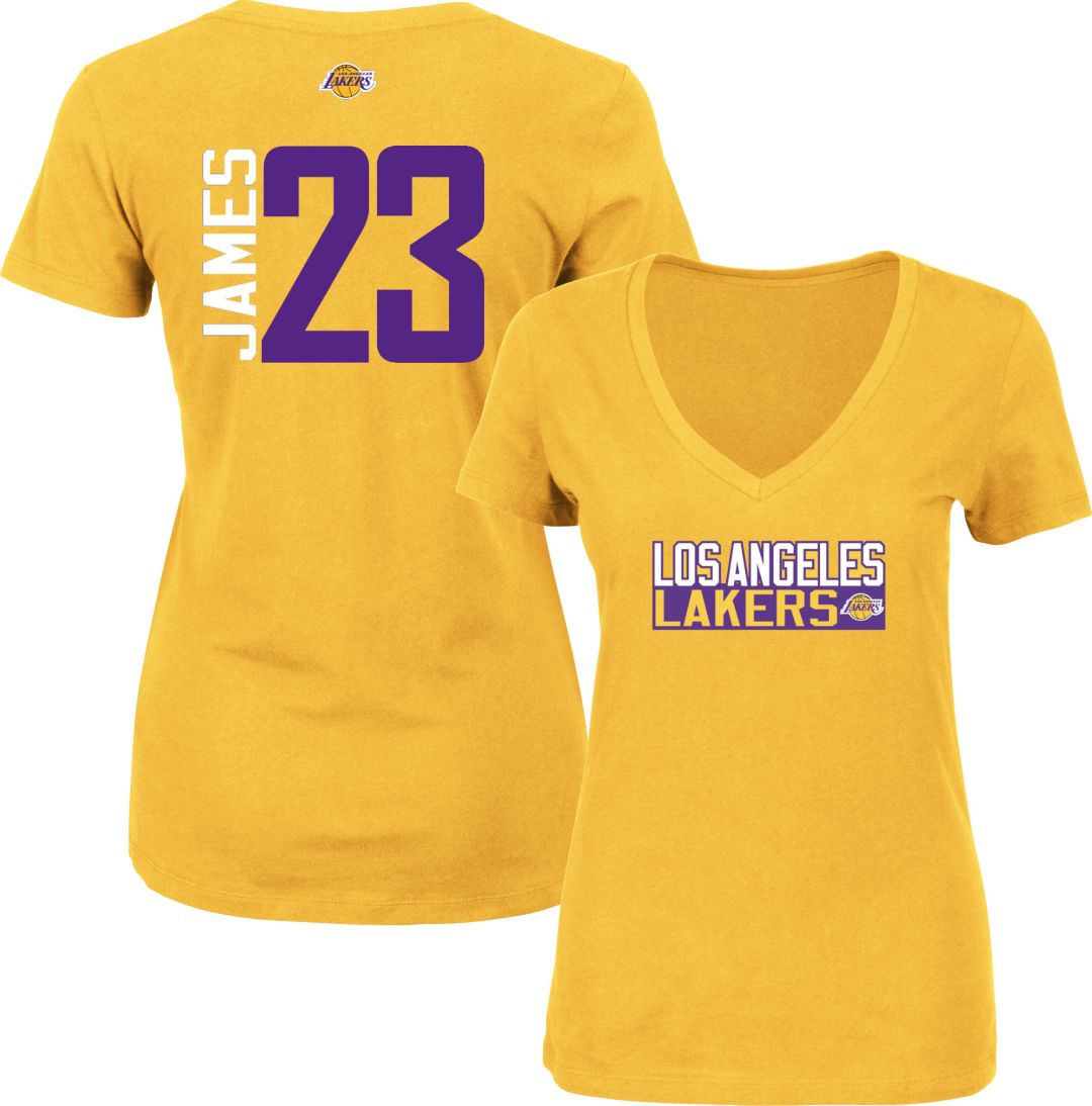 buy popular b73e9 0e4d0 Majestic Women's Los Angeles Lakers LeBron James #23 Gold V-Neck T-Shirt