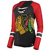 Majestic Women's Chicago Blackhawks Lace Up Black Long Sleeve Shirt