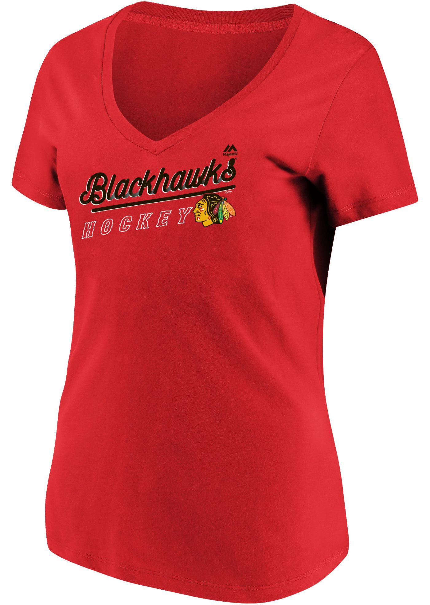 Majestic Women's Chicago Blackhawks Goal Cage Red V-Neck T-Shirt
