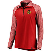 NHL Women's Chicago Blackhawks Match to Match Red Quarter-Zip Pullover